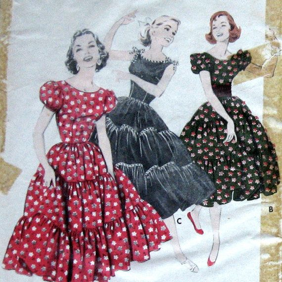 1950s Womens Western Wear Dress Pattern Square Dance Style Butterick ...