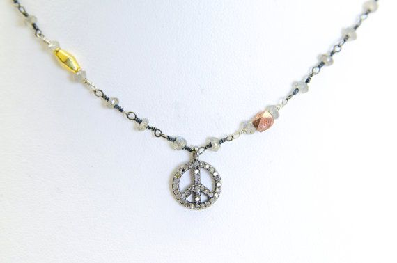 White Sapphire Peace Necklace $335.00 http://www.etsy.com/listing/172855826/white-sapphire-peace-necklace?ref=shop_home_active_14