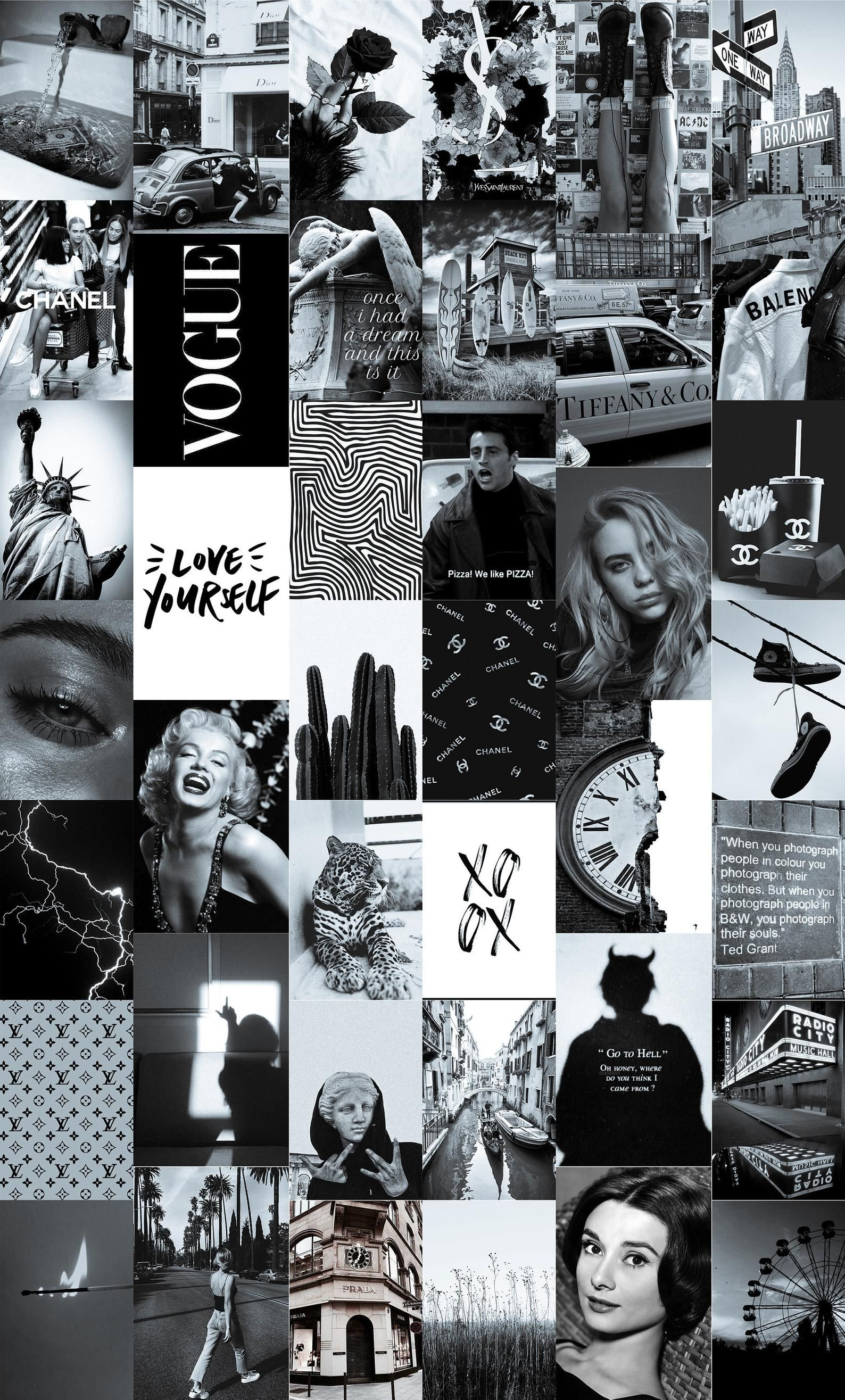 New York Vintage Black and White Wall Collage Kit (Digital Download) | Photo Wall Collage, Aesthetic Collage, Black and White Collage Kit