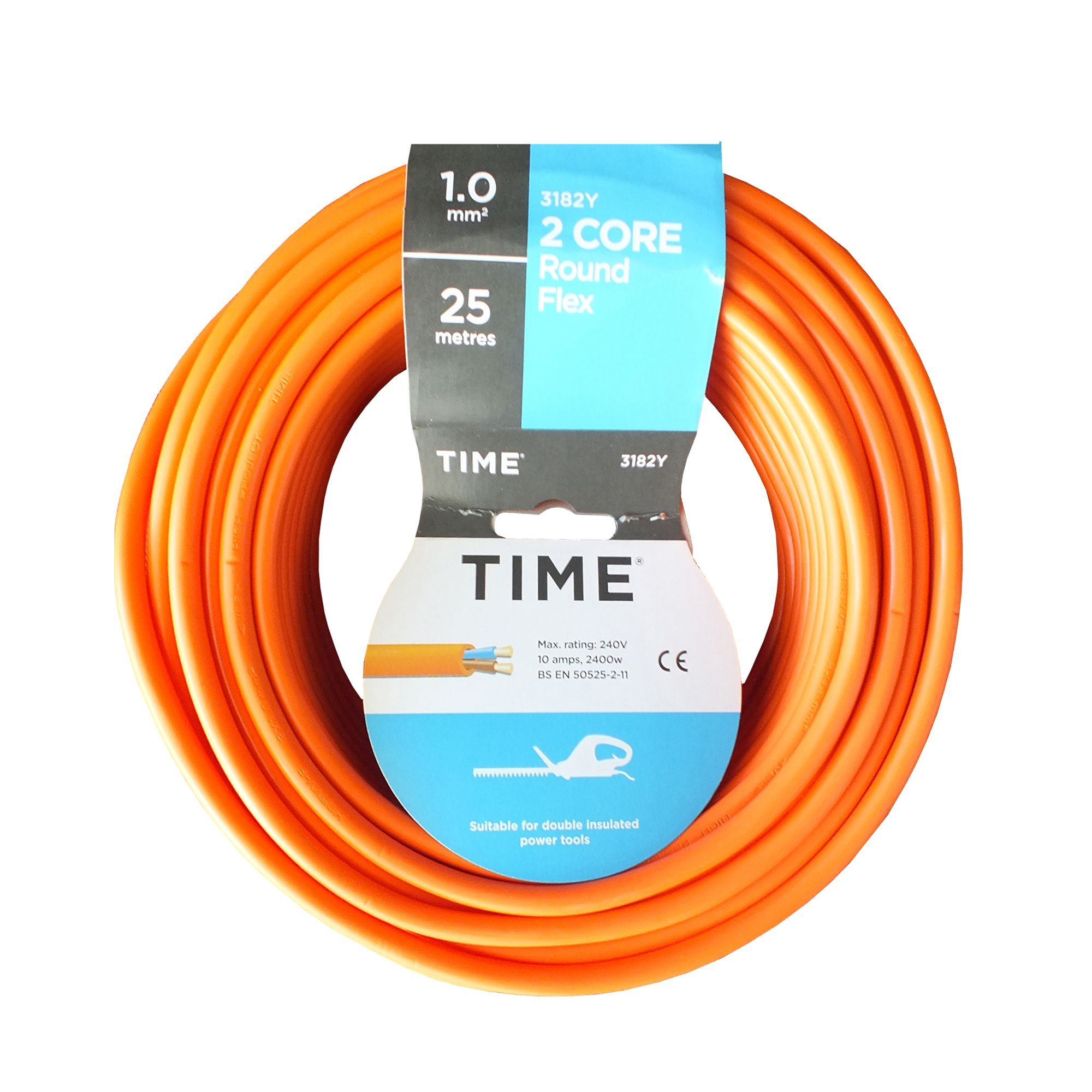 Time 2 Core Round Flexible Cable 1.0mm² 3182Y Orange 25m | Departments | DIY at B&Q