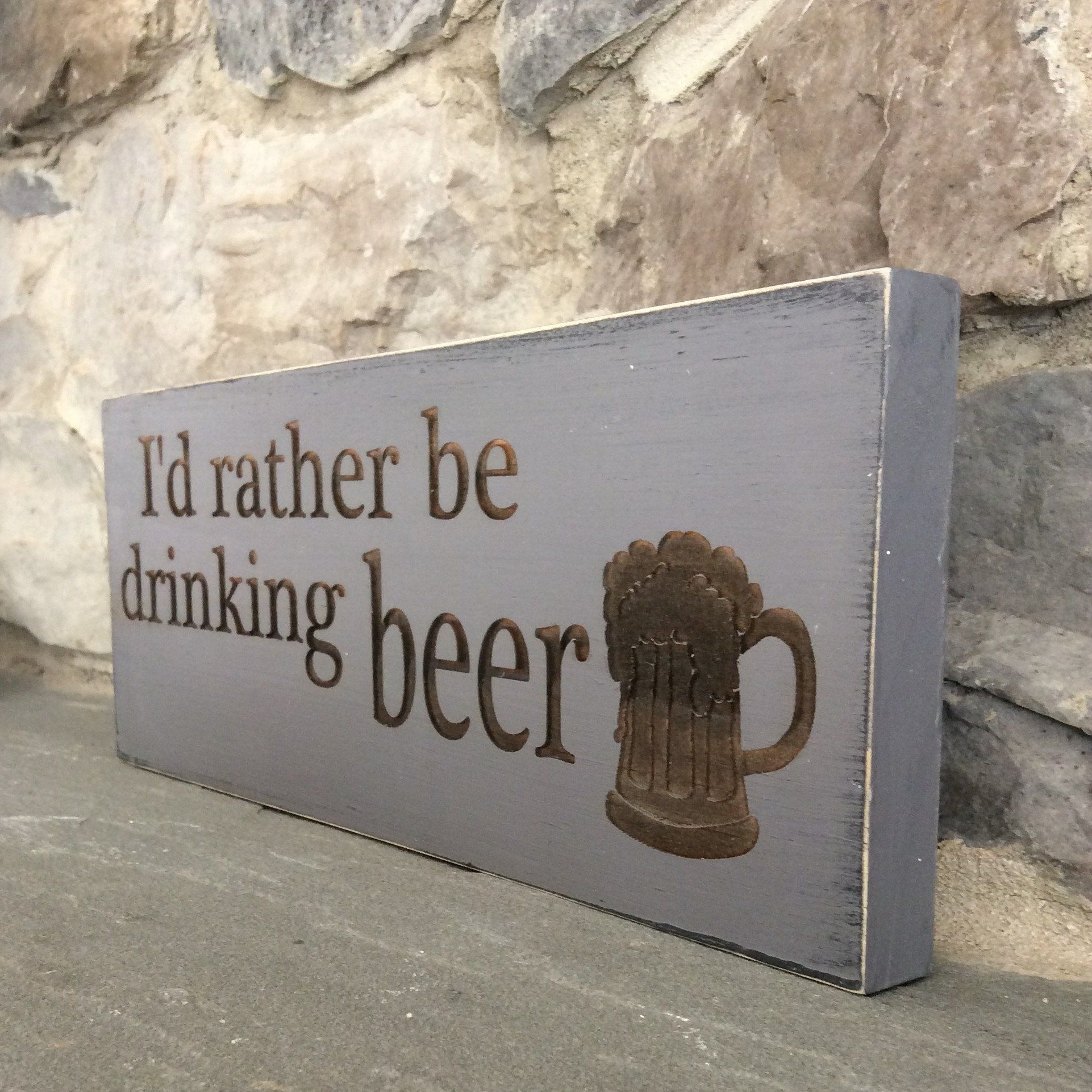 Iud rather be drinking beer wood sign beer lover gift beer sayings