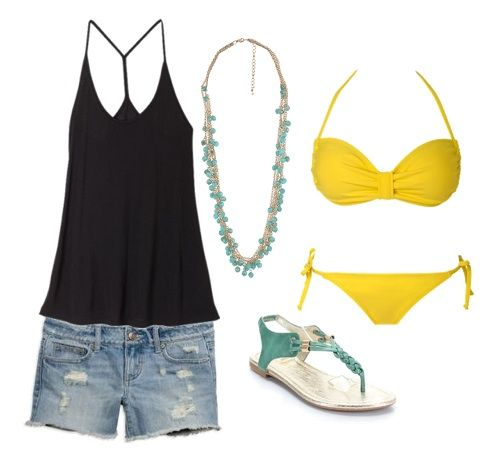 Soak up the sun in classic denim cut-offs and a sexy black top layered with a yellow bikini. A chunky turquoise necklace and bright sandals add tropical color to an otherwise neutral outfit. Remember to bring your favorite sunnies and SPF!