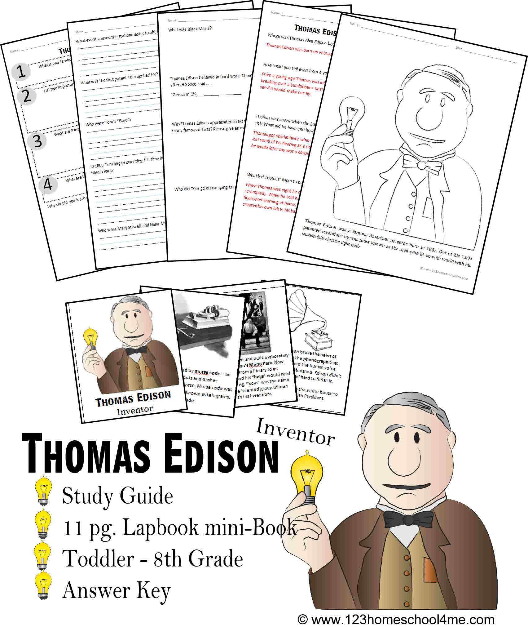 Thomas Edison Biography Report K 8th