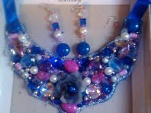 HANDMADE NECKLACE & EARRINGS TO MATCH!!! COLORFUL, UNIQUE, ORGINAL PIECES!!! NO 2 ARE ALIKE!!