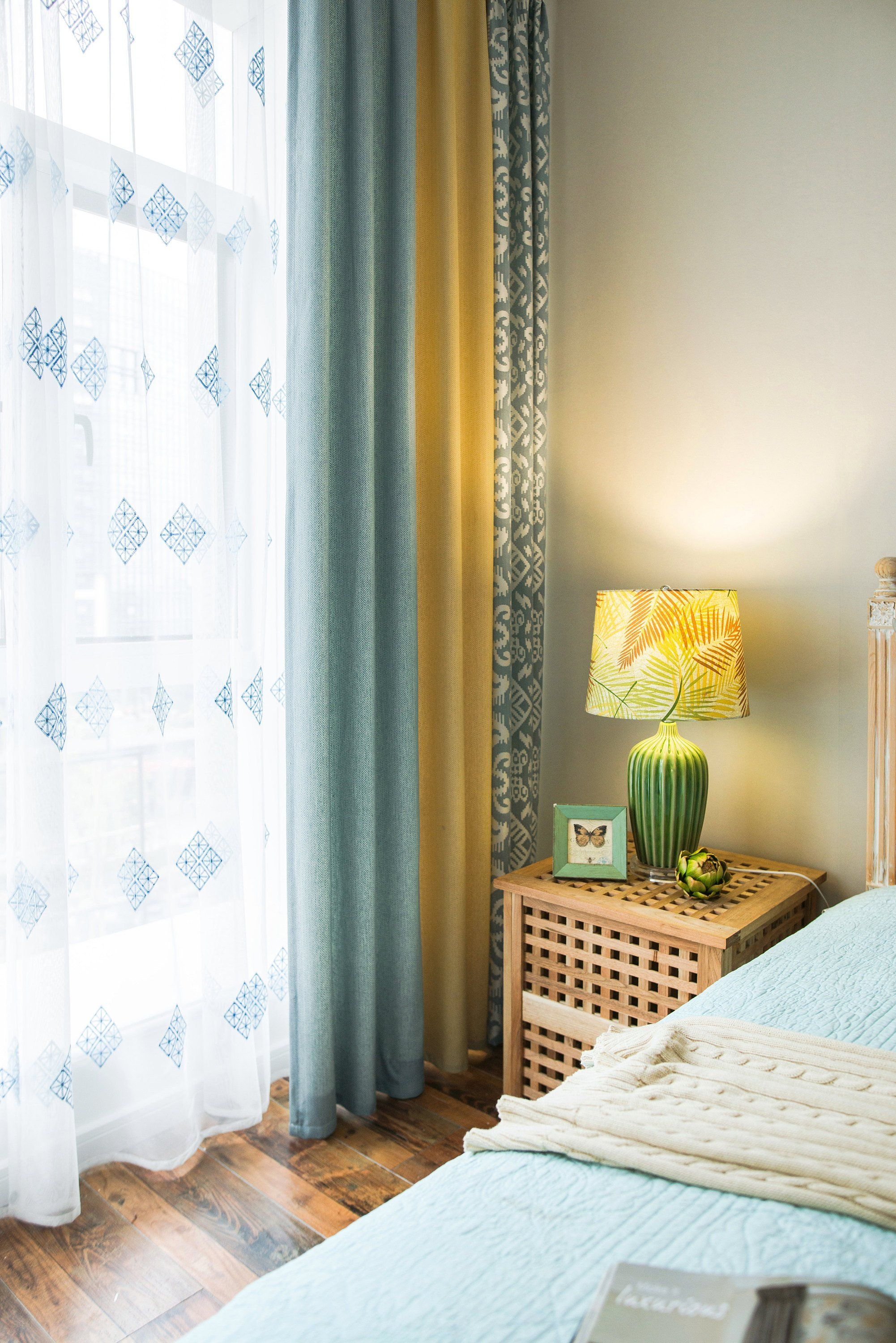 Blue Yellow Color Block With Geometric Pattern Curtain