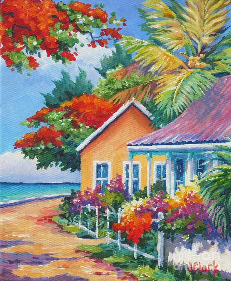 A cayman street in summer caribbean art tropical