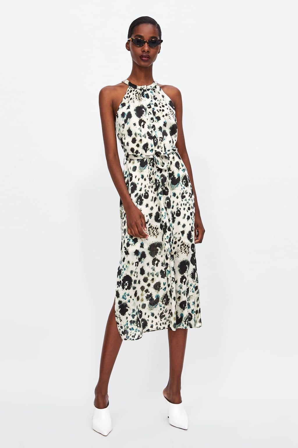 ZARA - WOMAN - LEOPARD PRINT HALTERNECK DRESS | Halter ...