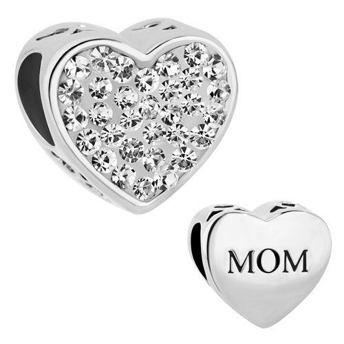 Pugster Crystal Rhinestone Heart Love Mom European Beads Fit Charm Bracelet | eBay