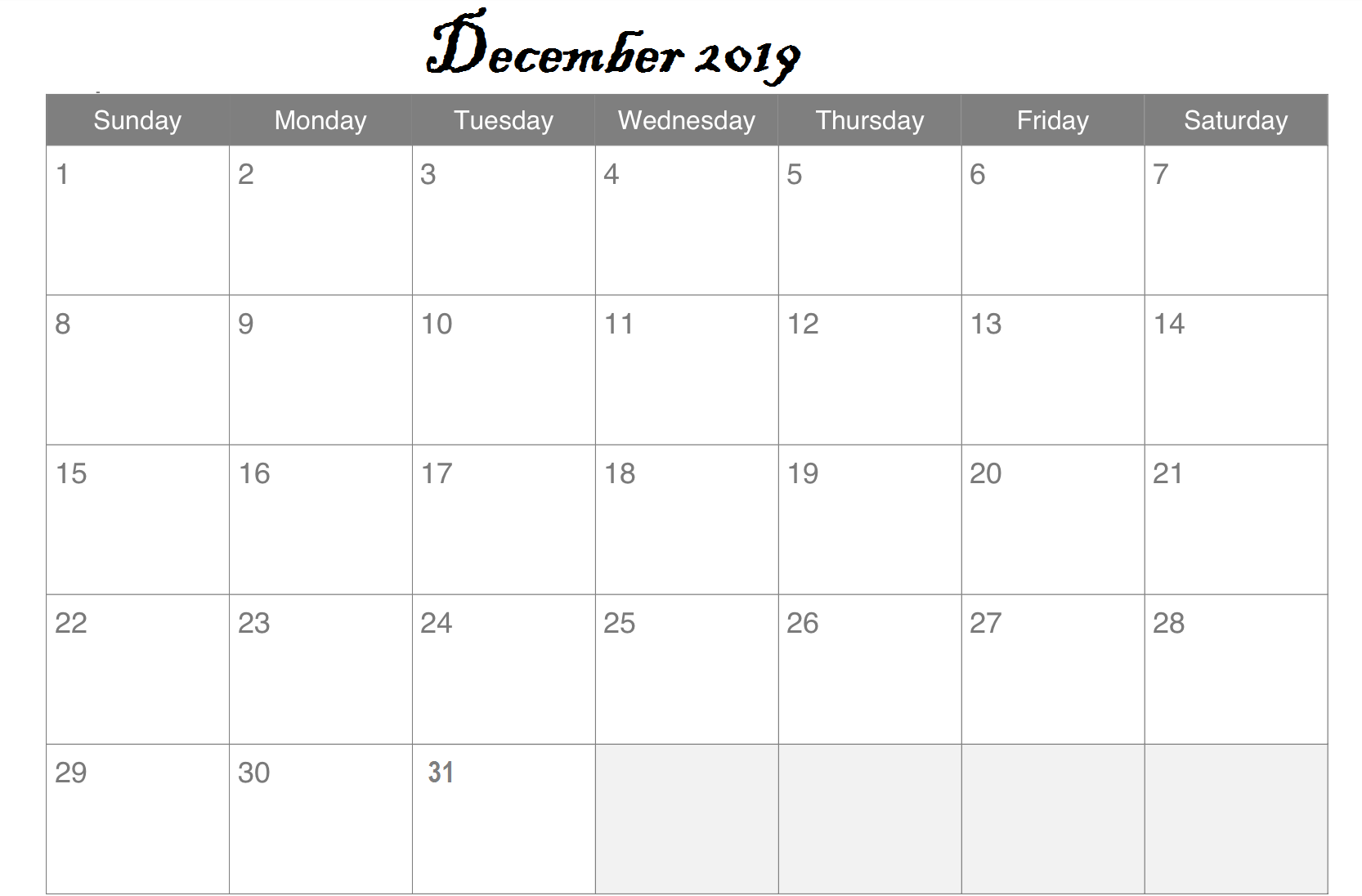 Excel December Calendar Printable