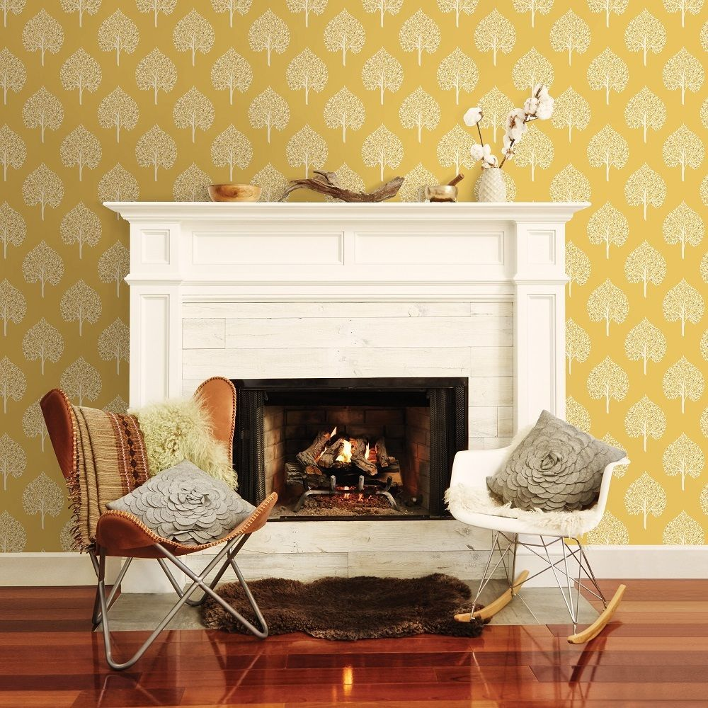 Retro tree design wallpaper in mustard yellow and grey and