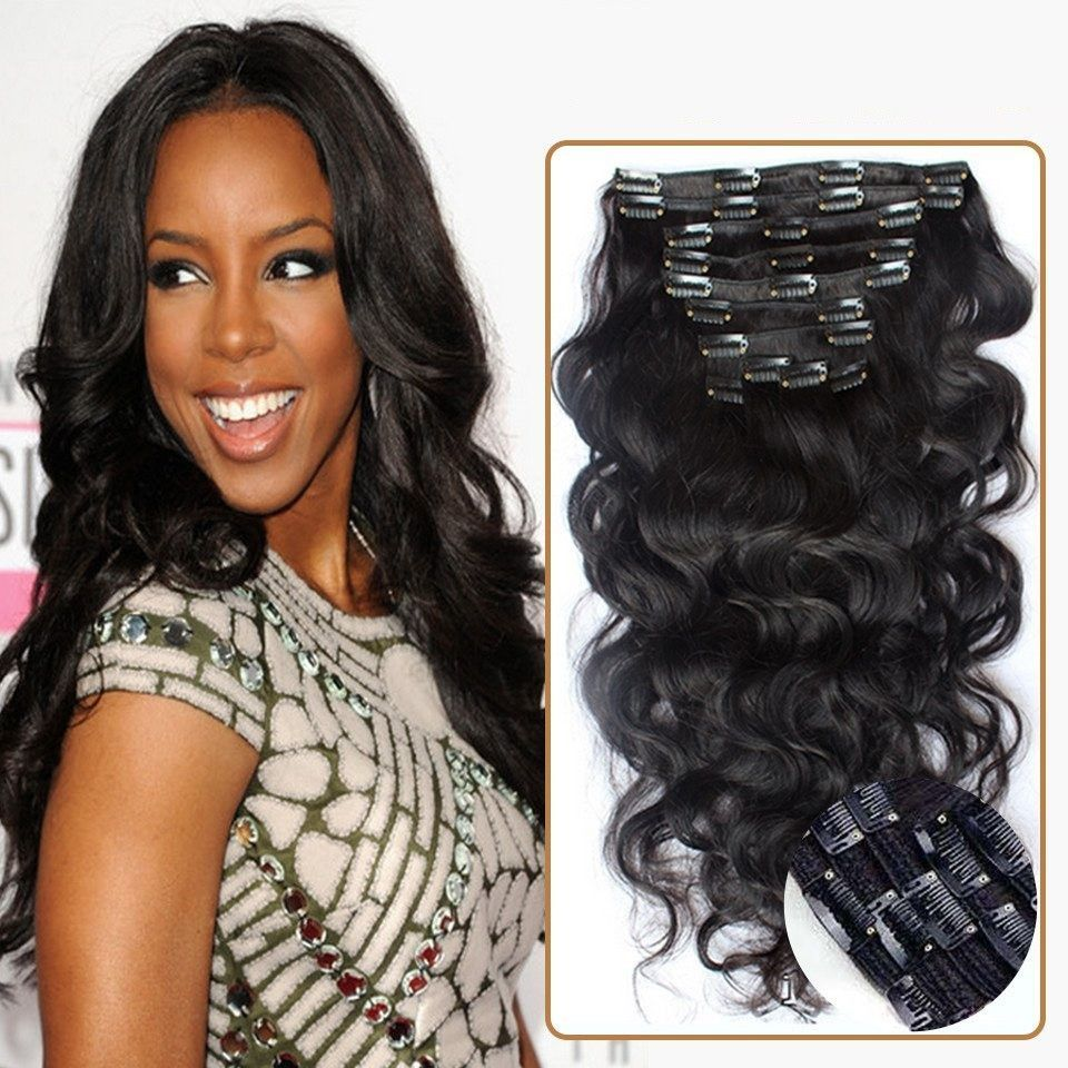 Full head body wave brazilian clip in human hair extensions body wave