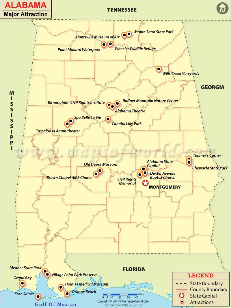 Alabama Travel Attractions Map Alabama Travel Road Trip Map