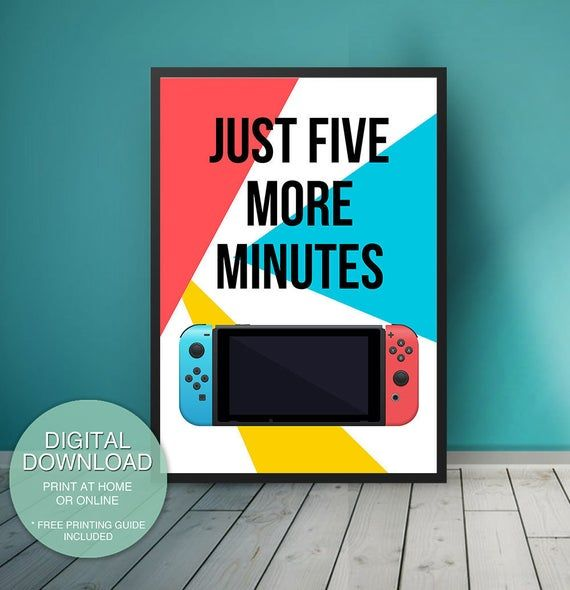 Nintendo Switch Game room decor Five more minutes ...