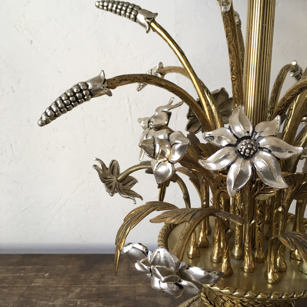 Peris Andreu Brass Wheat Sheaf Flowers Lamp Decorative Collective Flower Lamp Wheat Sheaf Antiques Online