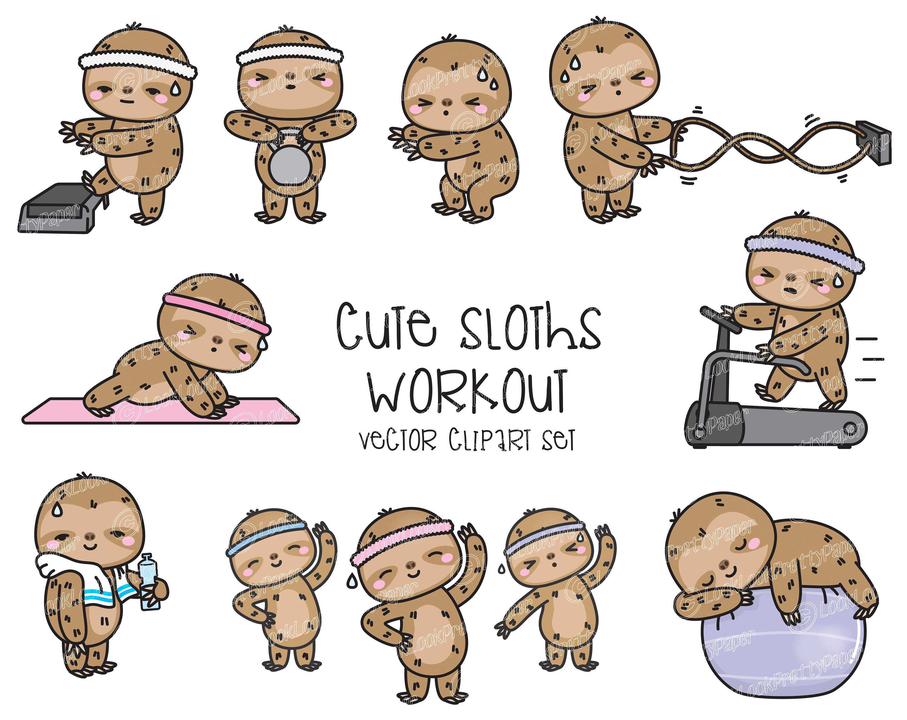 Premium Vector Clipart Kawaii Workout Sloths Cute Workout Sloths Clipart Set High Quality Vectors Kawaii Workout Clipart In 2021 Clip Art Vector Clipart Greeting Cards And Invitations