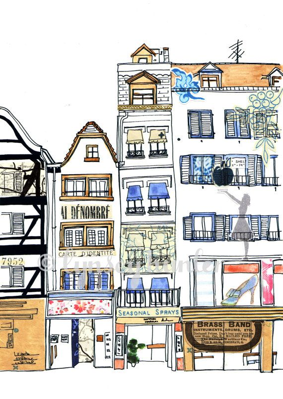 French boutiques  Ink watercolour and collage by lynseyhunter, $20.00