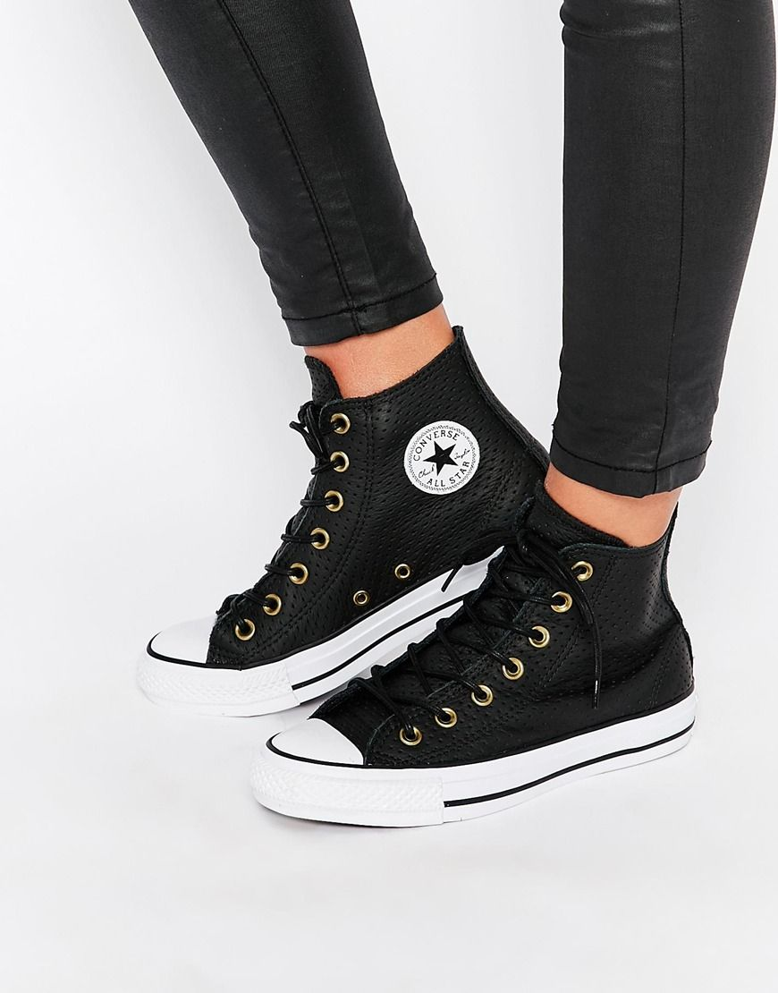 c006e7e19385 Converse+Perforated+Leather+Chuck+Taylor+Hi+Top+Trainers ...