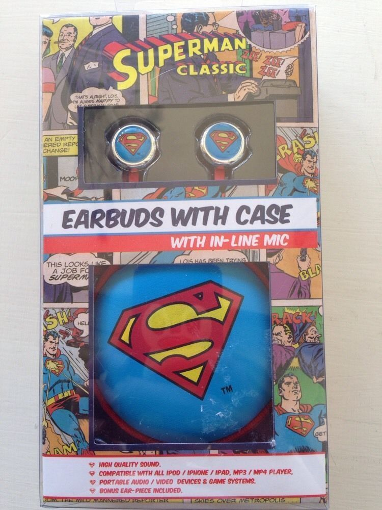 Superman earbuds with mic, Includes case, High quality