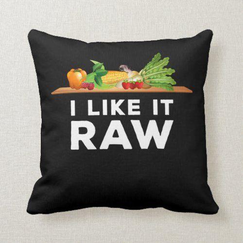 Funny Veggie Foodie Vegetarian Joke Raw Food Lover Throw Pillow