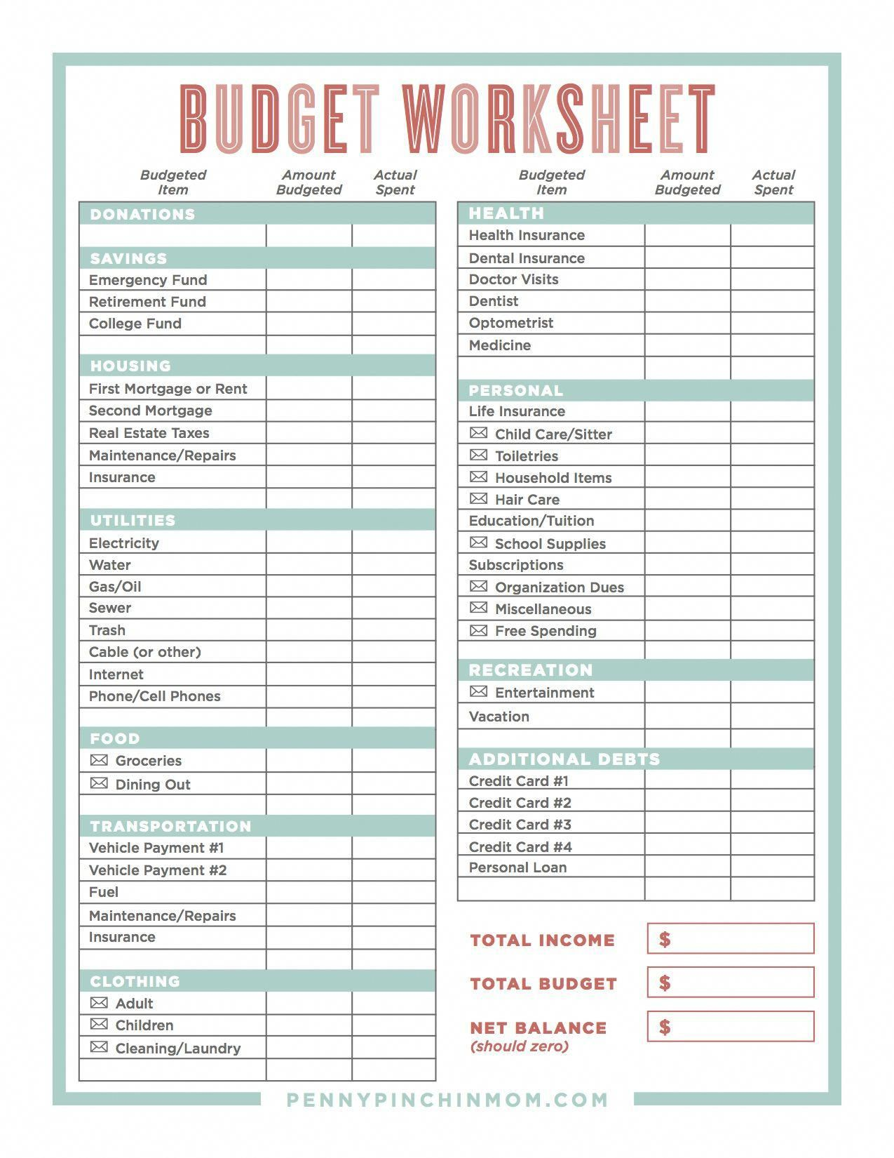 Creating A Budget Monthlybudget Money Worksheets Budgeting Worksheets Budgeting