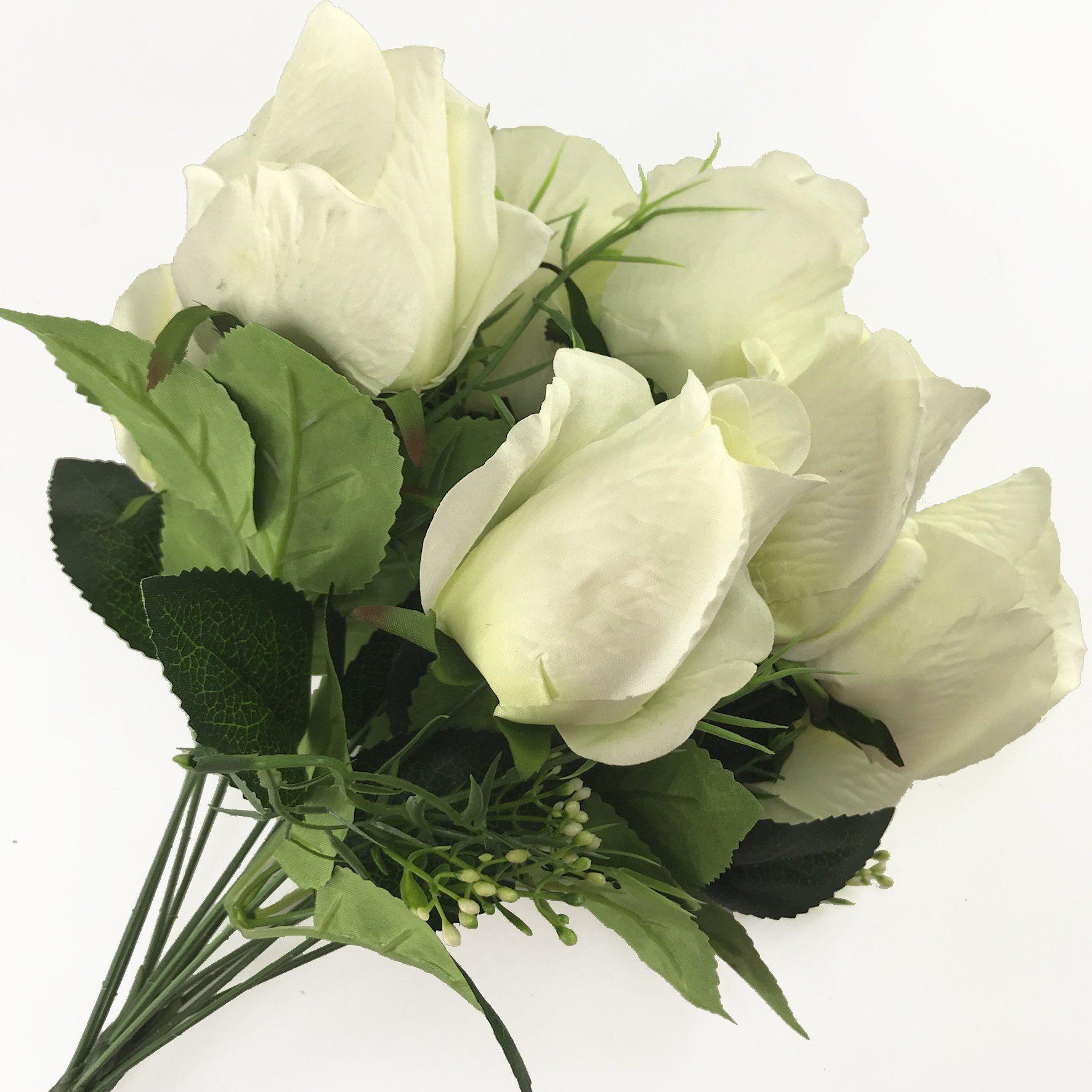 dalamoda artificial flowers 2 bundles 14 heads rose bud flower