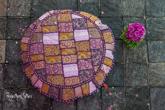 Indian Vintage Patchwork Living Room Pouf, Foot Stool,Round Ottoman Cover Pouf,Floor Pillow Ottoman