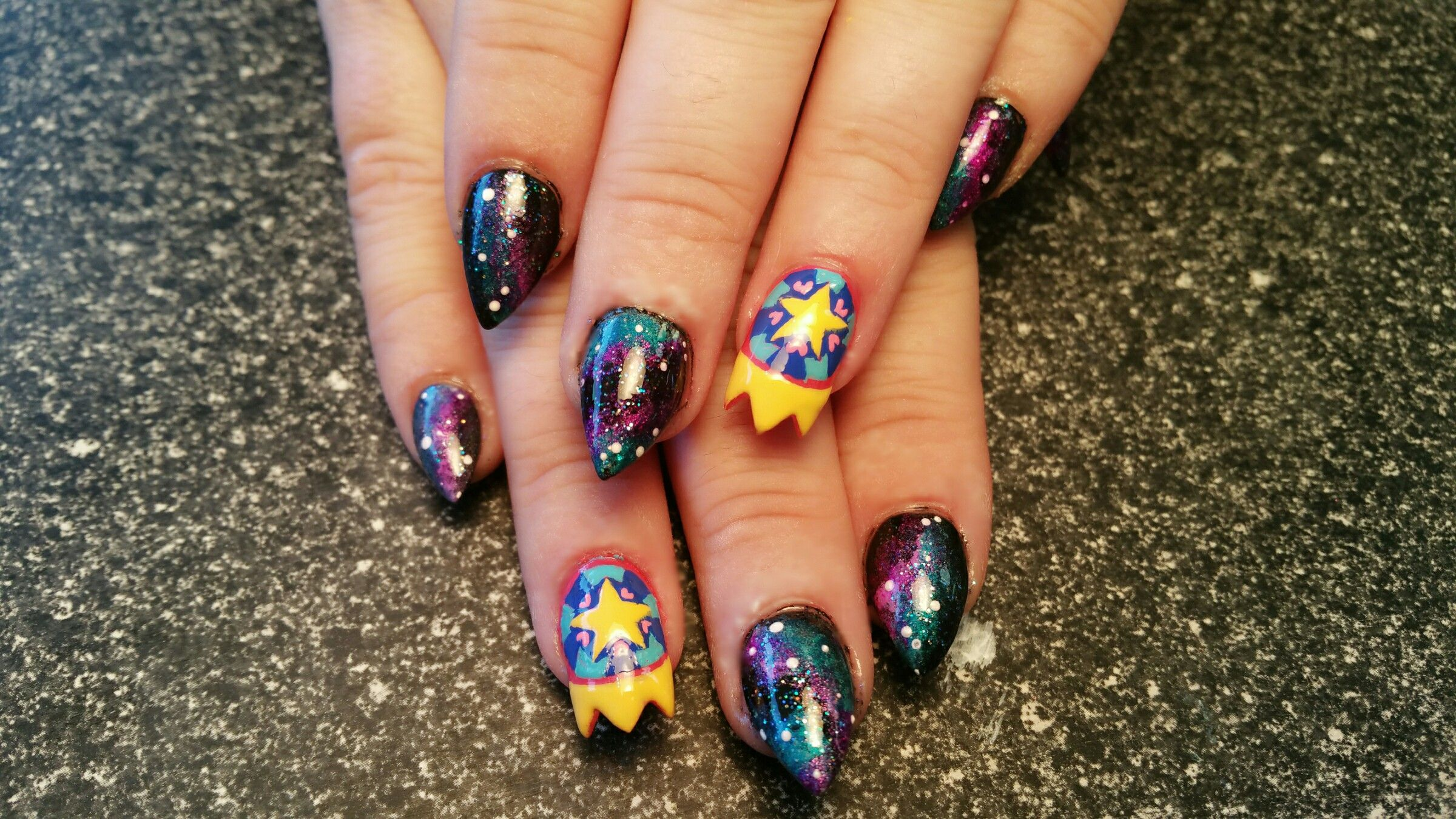 Star vs the forces of evil inspired nails. Galaxy nails with ...