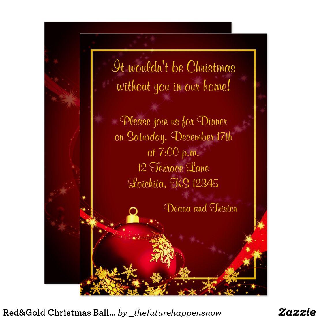 Red&Gold Christmas Ball Dinner Party Invitation | Dinner invitations