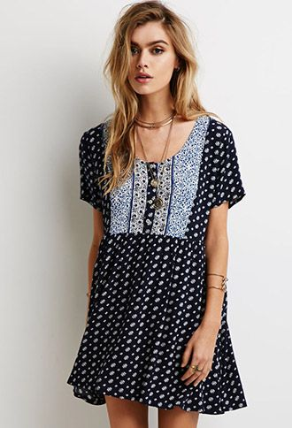 abstract floral print babydoll dress forever 21 2000097869 girls women 39 s clothes. Black Bedroom Furniture Sets. Home Design Ideas