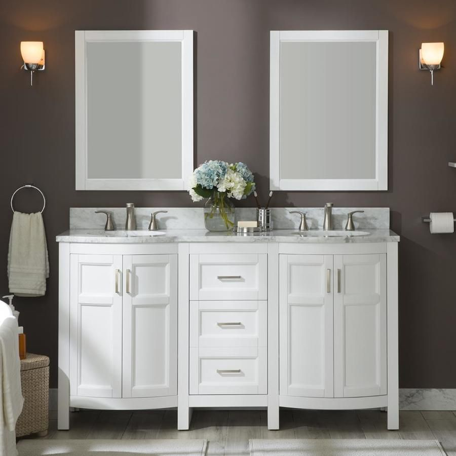 Allen Roth Moravia 60 In White Undermount Double Sink Bathroom Vanity With Natural Carrara Marble Top Lowes Com Double Sink Bathroom Double Sink Bathroom Vanity Double Sink Vanity