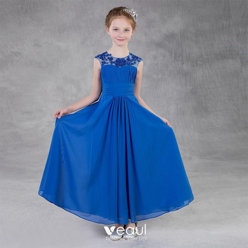 Chic beautiful royal blue chiffon flower girl dresses