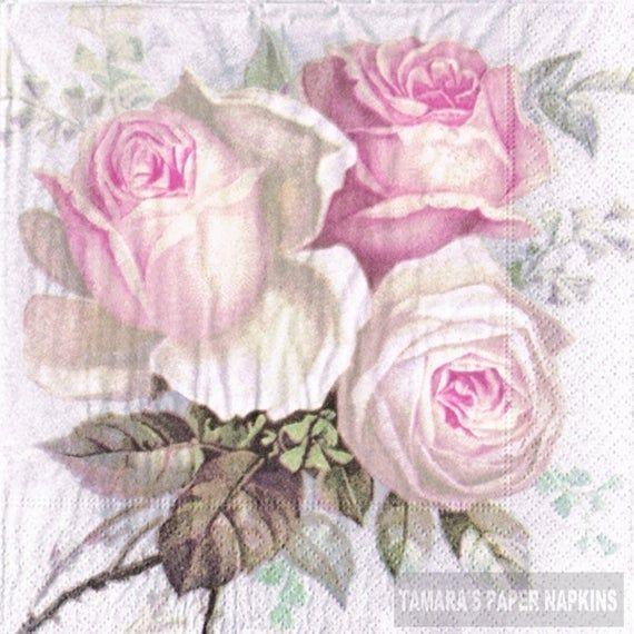 4 Decoupage Napkins | BIG ROSE PINK | 1700 Designs | Lunch Napkins | Napkins for Craft | Printed Paper Napkins | Decoupage Paper Napkins