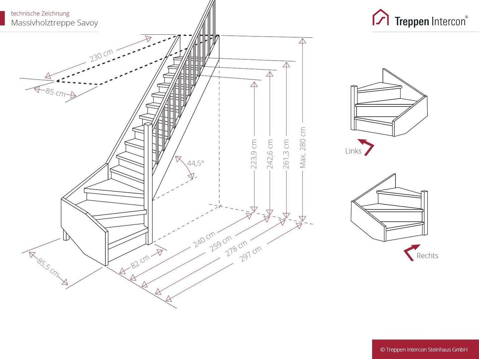 technische Zeichnung Holztreppe viertelgewendelt Geländer ...