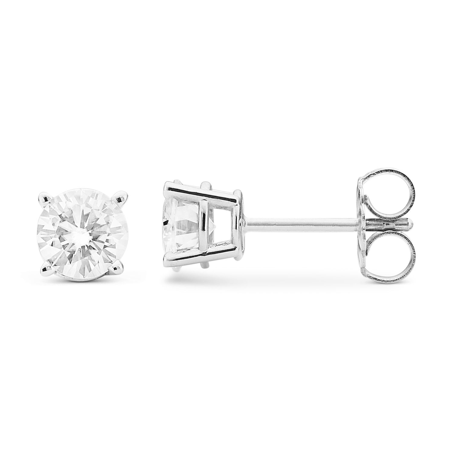 t gold stud pin ct w created moissanite forever brilliant round lab white cut