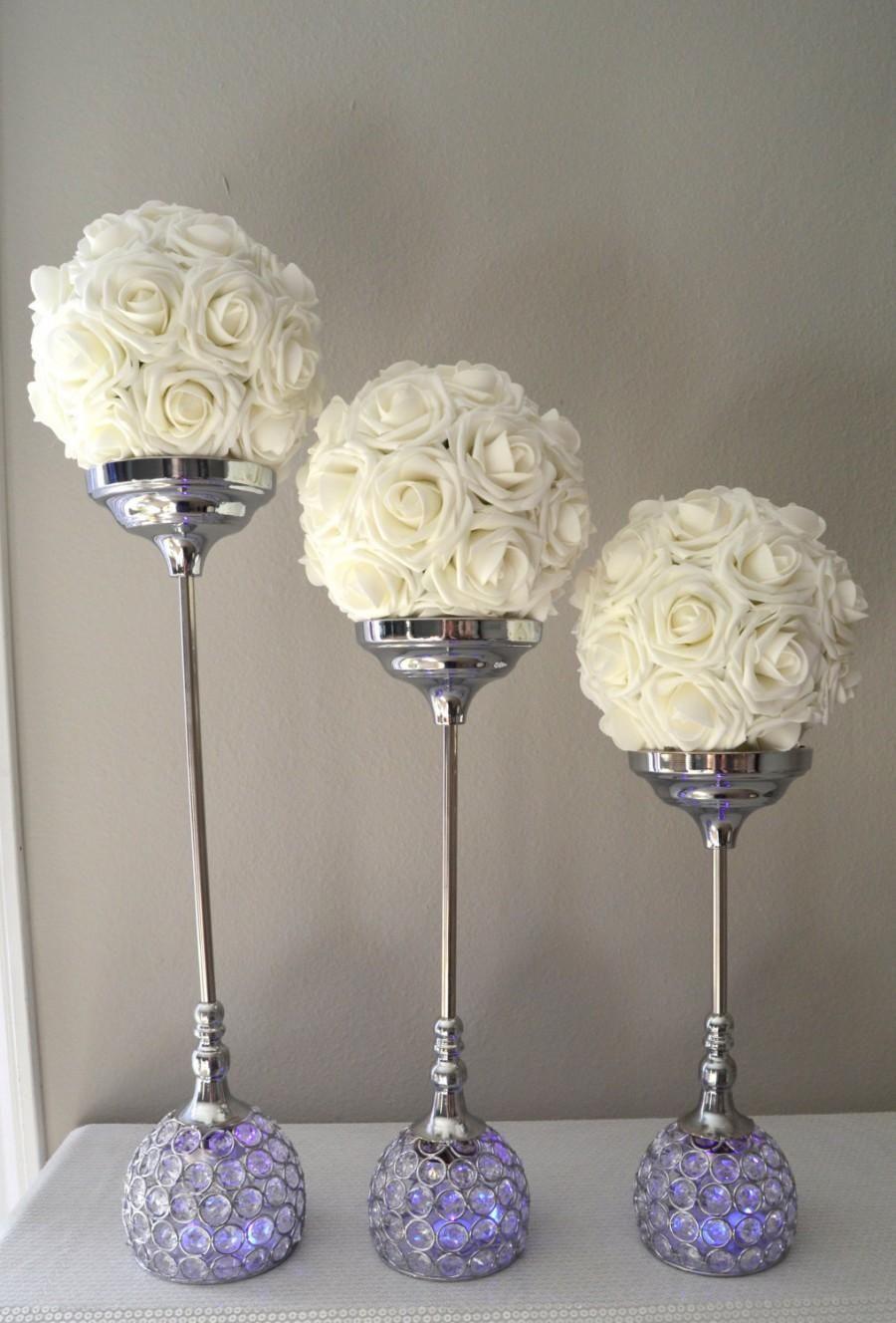 Wedding  Crystal Candle Holder SET OF 3 Silver Bling