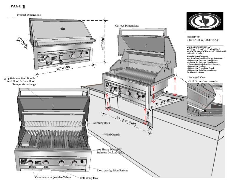 Lone Star Grill Pdf Spec Sheet Built In Grill Grilling Building