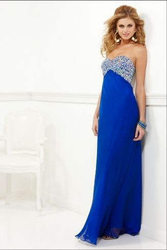 Iridescent, strapless Chiffon with beaded bust and bra back Faviana style 7103 now available at Binns of Williamsburg