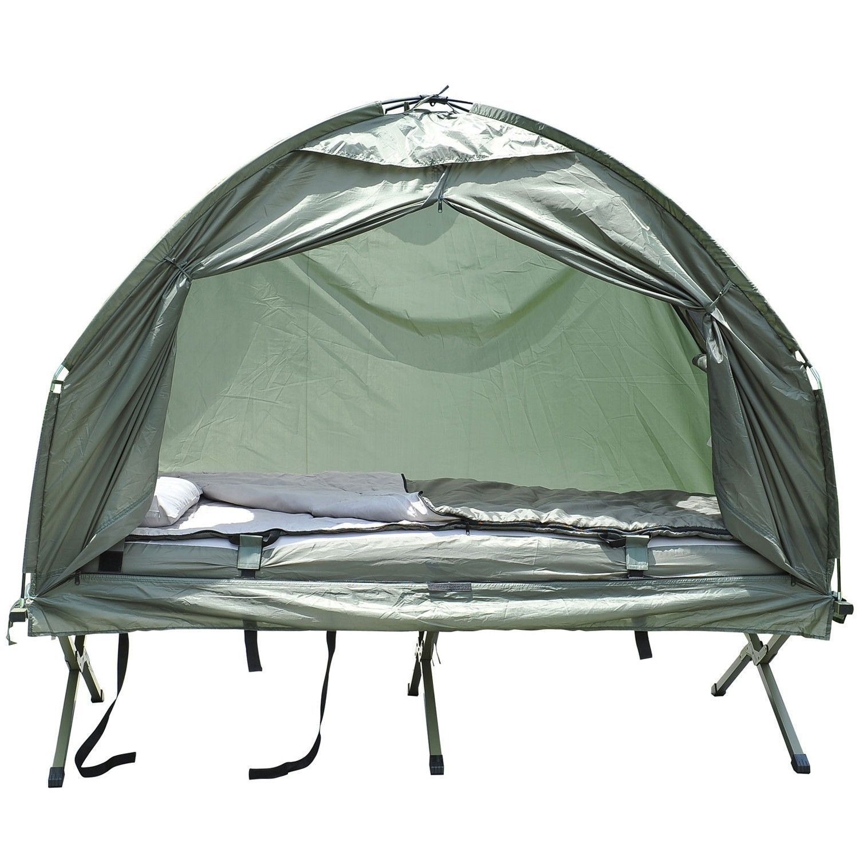 Pop Up Tent Cot Air Mattress Sleeping Bag Combo Outdoor Campign