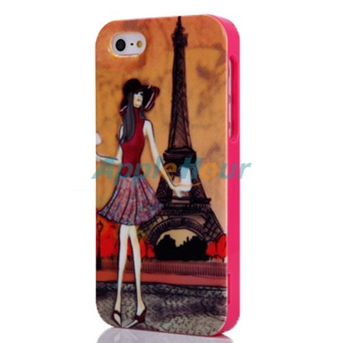 Fashion Eiffel Tower Girl Pattern Hard Protective Case Cover for iPhone 5