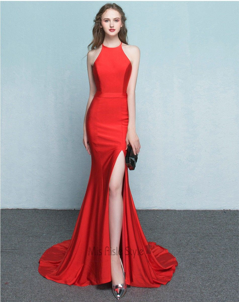 Sexy mermaid halter neckline slit red prom dress fashion