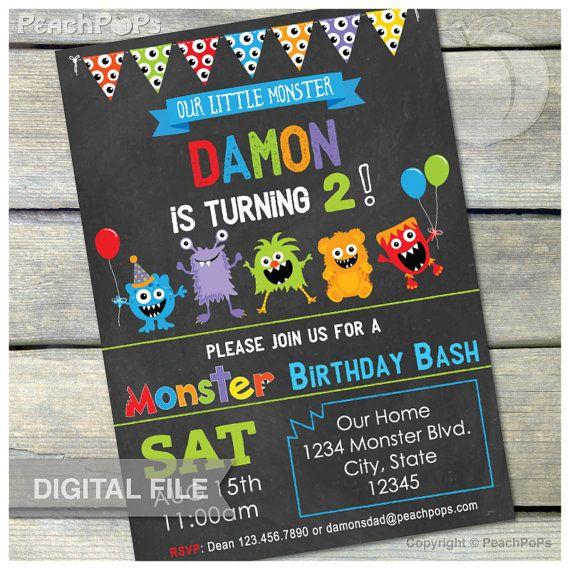 Little Monster Birthday Party Bash Chalkboard Invitation