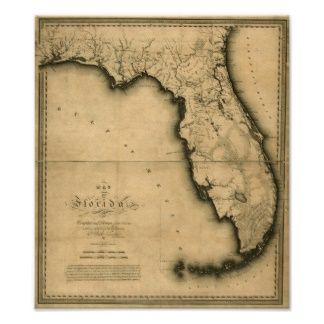 20x24 1823 Historic Map of Florida and Gulf of Mexico