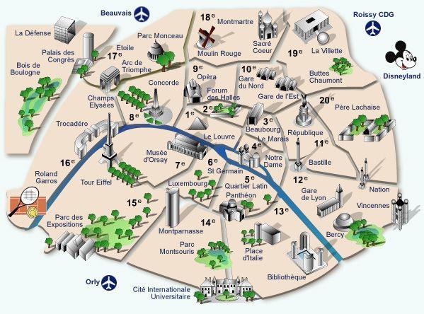 TOUR EIFFELMonument Emblématique De Paris La Tour Eiffe - Map of paris bastille