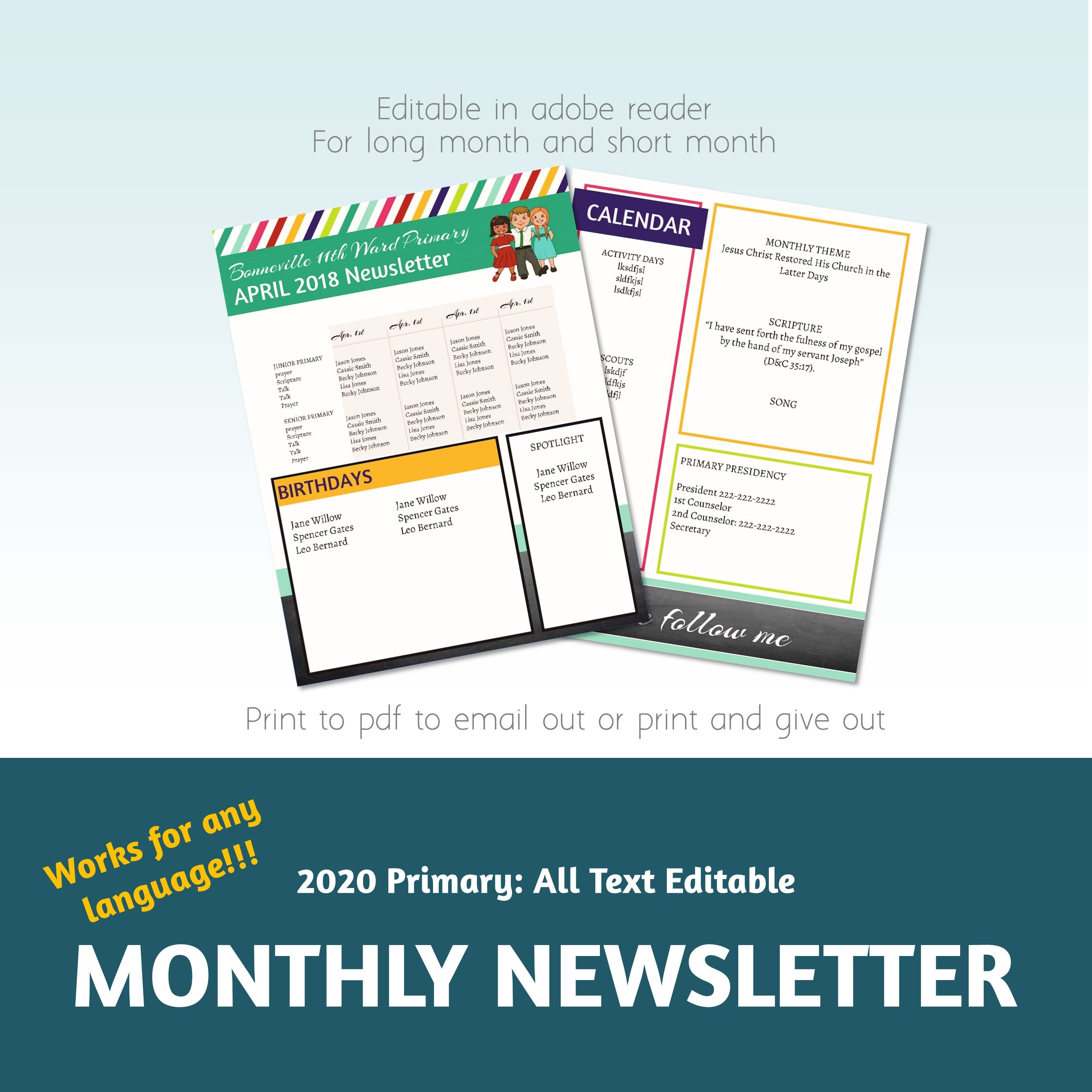 2020 Primary Newsletter Template Pdf Newsletter Template Come