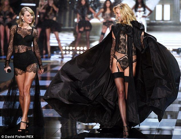 67cc01d36a8 Taylor Swift and BFF Karlie Kloss hit the Victoria's Secret runway  #dailymail