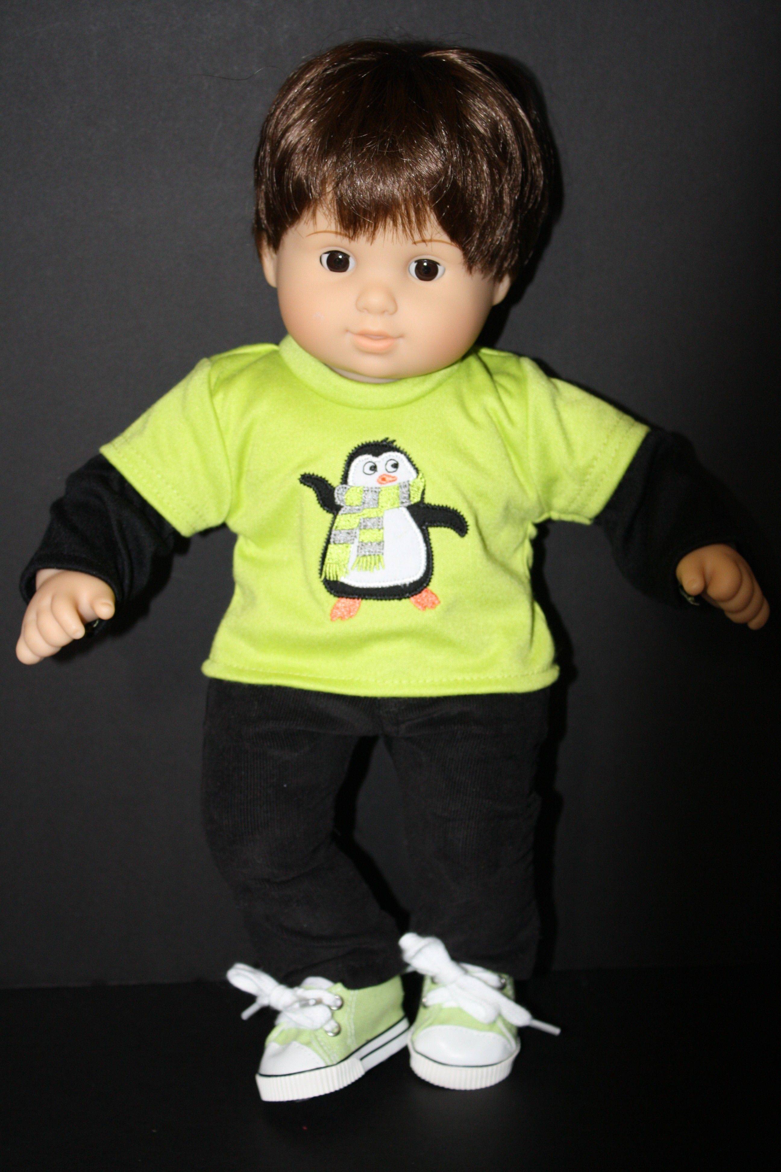 Black Corduroy Pants with Green Penguin Top for Bitty Baby Boy or