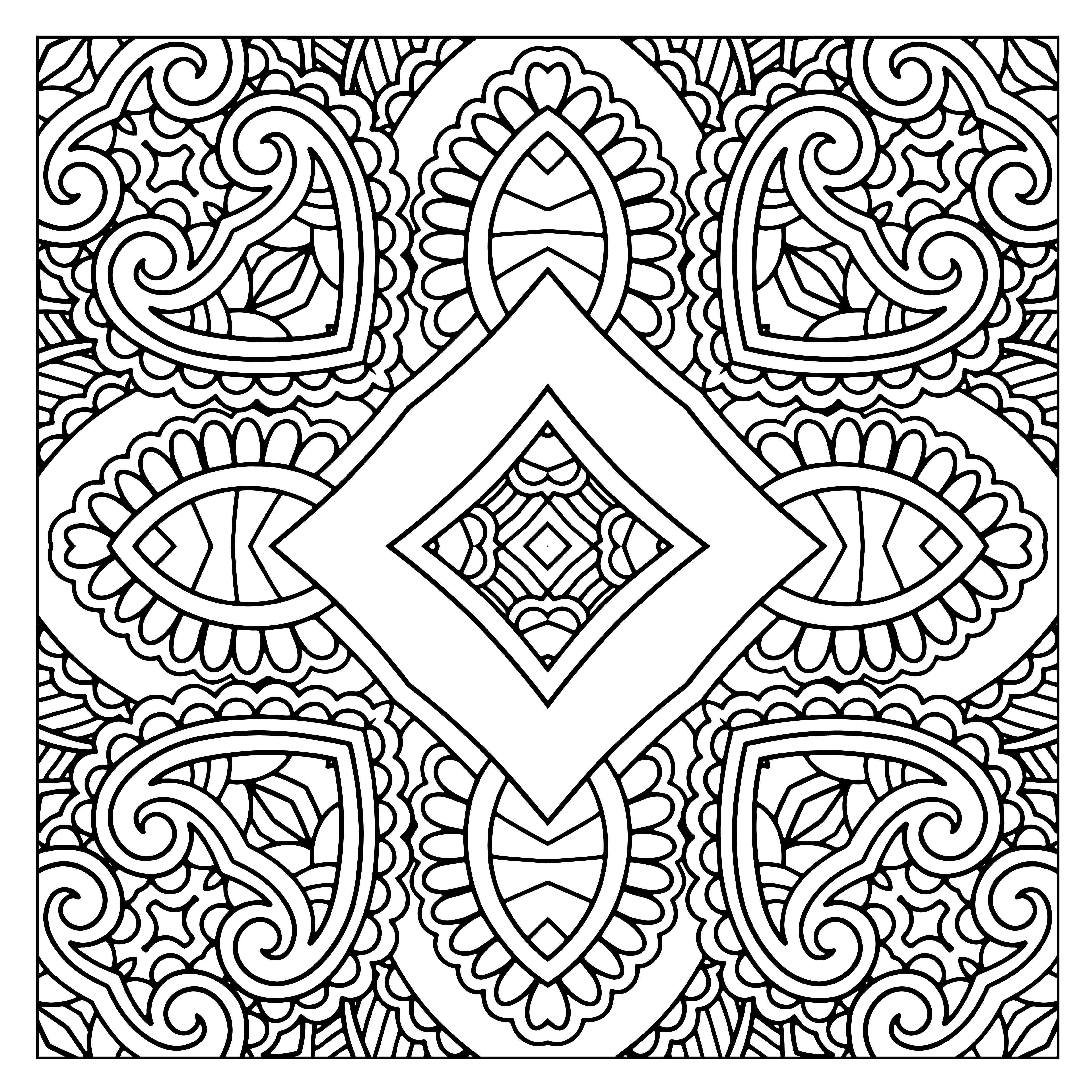 50 Free Square Patterns Kaleidoscope Adult Coloring ...