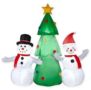 5-Foot Inflatable Outdoor Snowmen with Lighted Tree Christmas Yard - inflatable outdoor christmas decorations