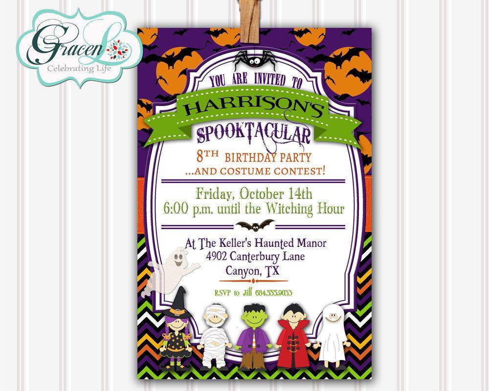Halloween Birthday Invitation, Children\'s Halloween Invitation ...