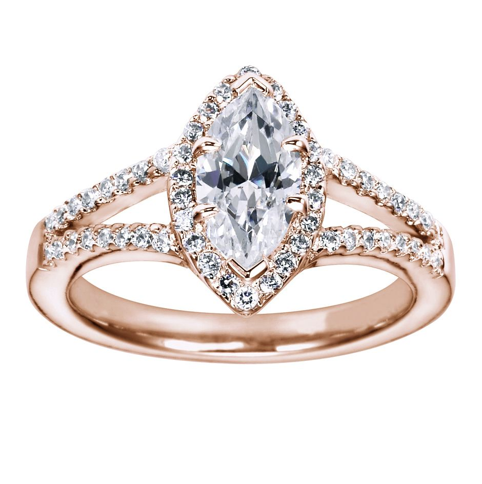 Halo Engagement Ring Setting Marquise Cut 3